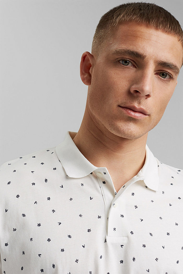 Printed jersey polo shirt, organic cotton, OFF WHITE, detail image number 5