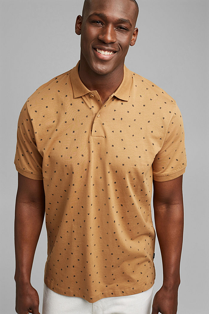 Printed jersey polo shirt, organic cotton, CAMEL, detail image number 0