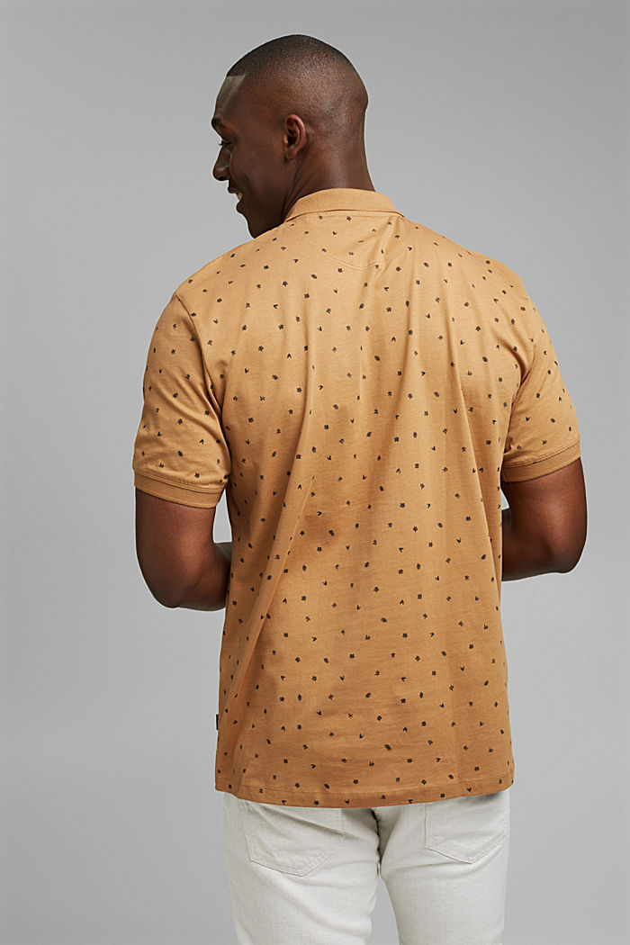 Printed jersey polo shirt, organic cotton, CAMEL, detail image number 3