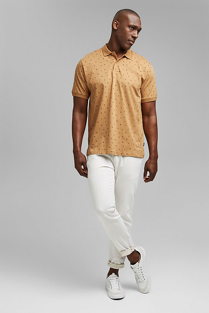 Printed jersey polo shirt, organic cotton, CAMEL, detail image number 2