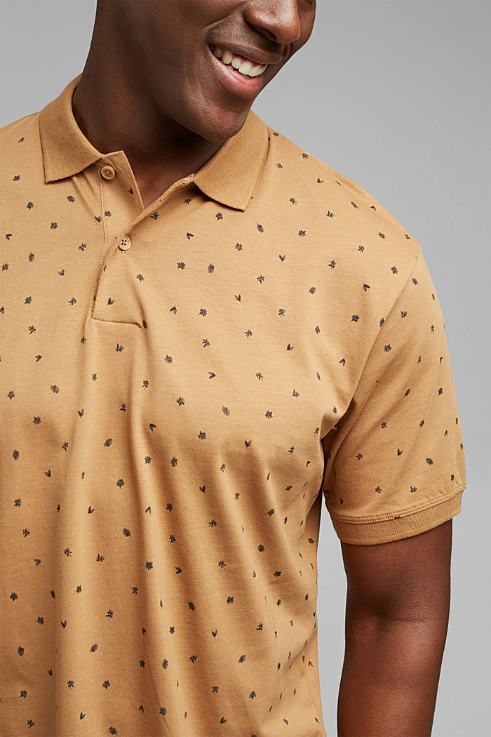 Printed jersey polo shirt, organic cotton, CAMEL, detail image number 1
