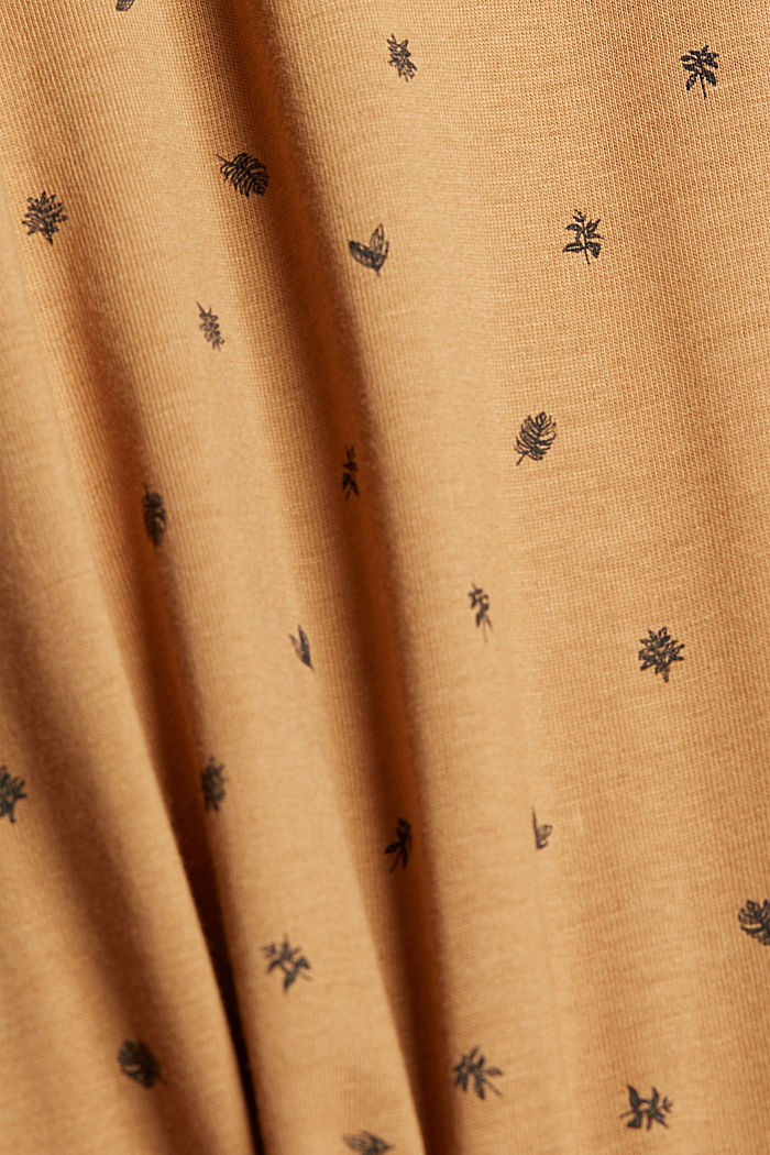 Printed jersey polo shirt, organic cotton, CAMEL, detail image number 5