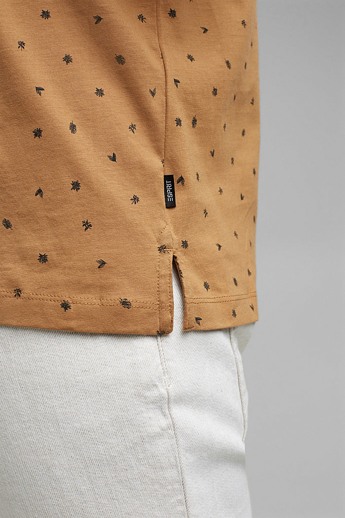 Printed jersey polo shirt, organic cotton, CAMEL, detail image number 6