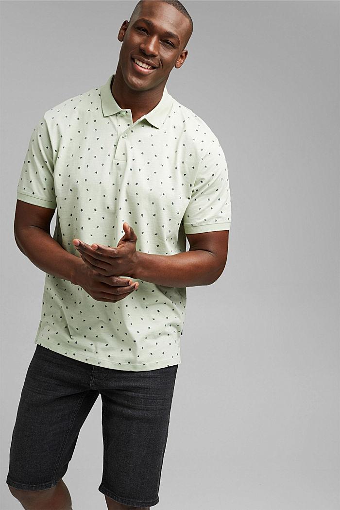 Jersey-Polo mit Print, Organic Cotton, PASTEL GREEN, detail image number 0
