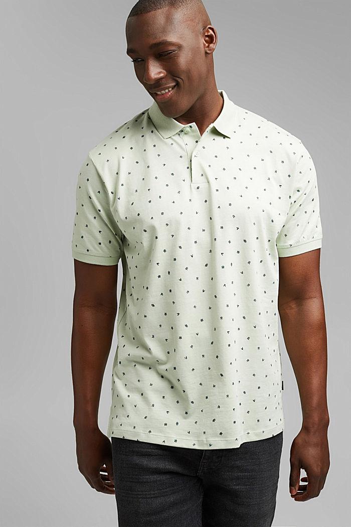 Jersey-Polo mit Print, Organic Cotton, PASTEL GREEN, detail image number 4