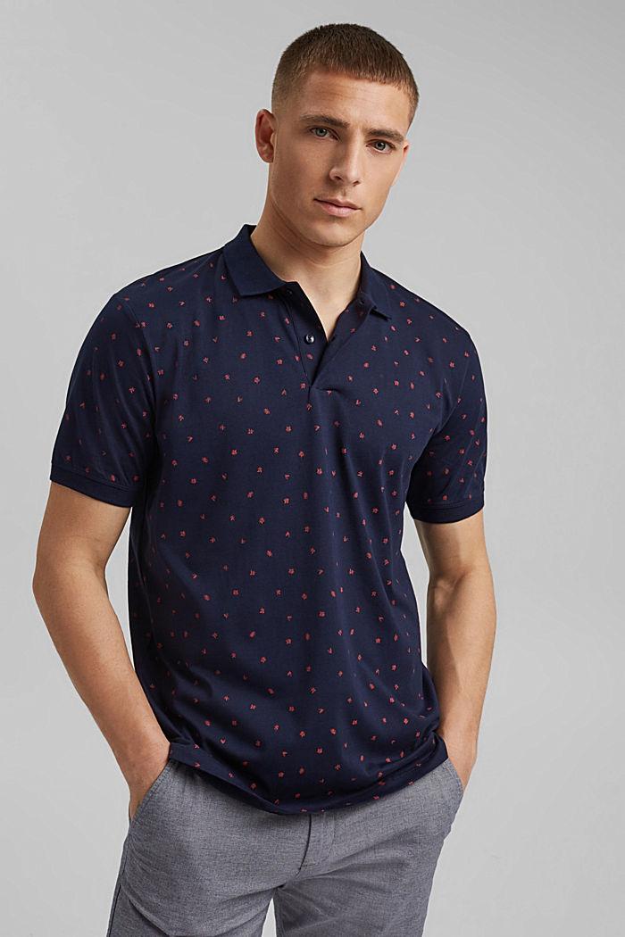 Polo de jersey en estampado, algodón ecológico, NAVY, detail image number 0