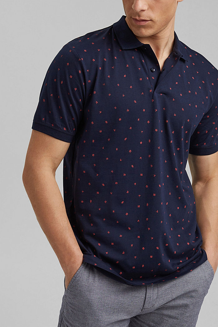 Printed jersey polo shirt, organic cotton