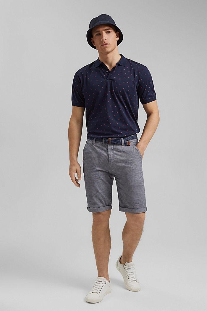 Polo de jersey en estampado, algodón ecológico, NAVY, detail image number 2
