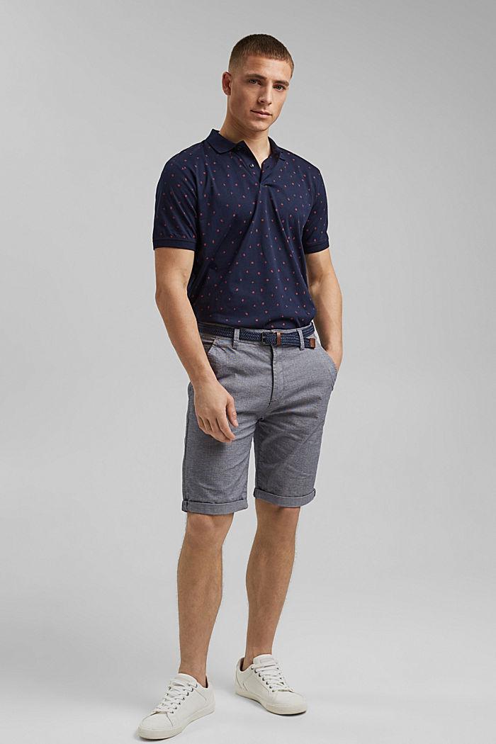 Polo de jersey en estampado, algodón ecológico, NAVY, detail image number 7