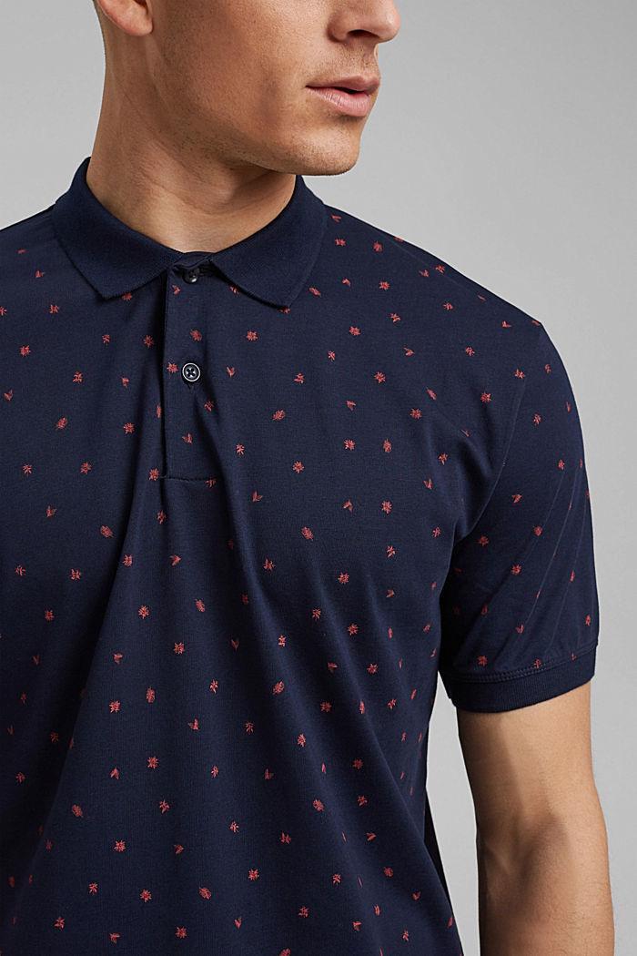 Polo de jersey en estampado, algodón ecológico, NAVY, detail image number 1