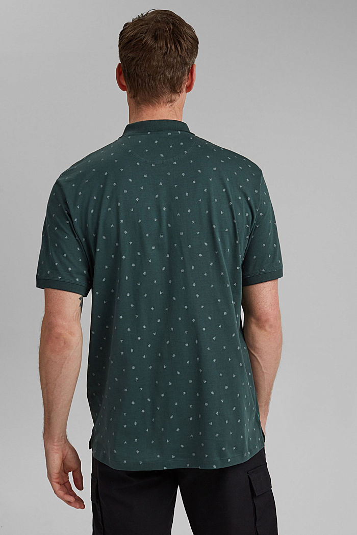 Printed jersey polo shirt, organic cotton, TEAL BLUE, detail image number 3