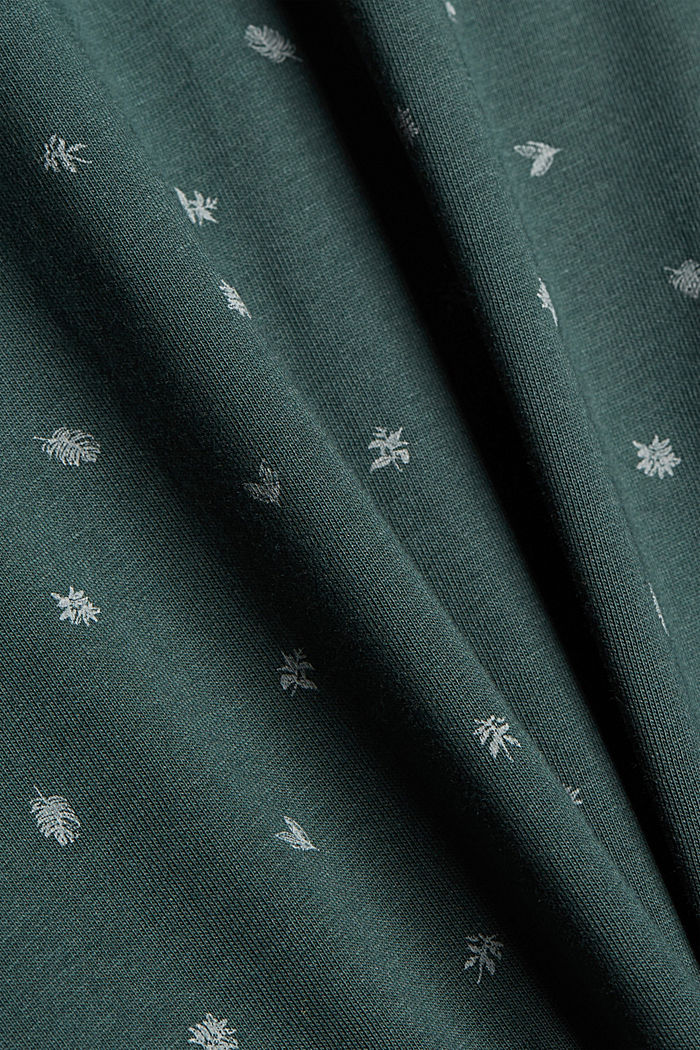 Printed jersey polo shirt, organic cotton, TEAL BLUE, detail image number 5