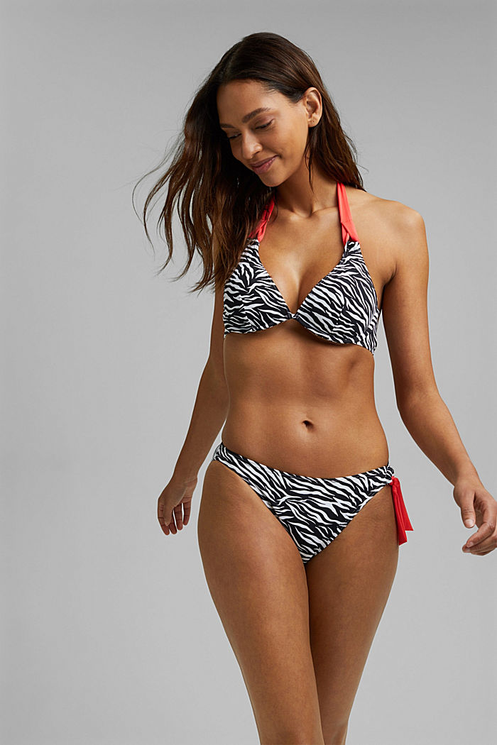 Recycled: bikini bottoms with a zebra print and a bow, BLACK, detail image number 1