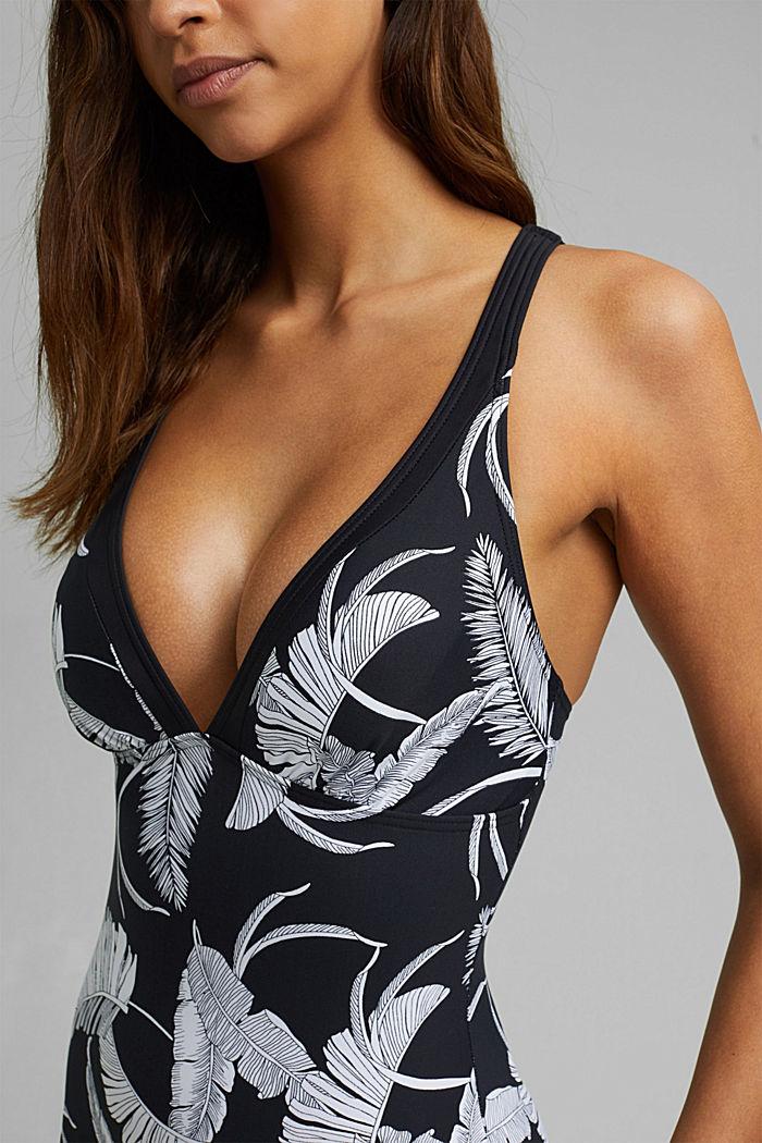 Gerecycled: figuurvormend badpak met print, BLACK, detail image number 2