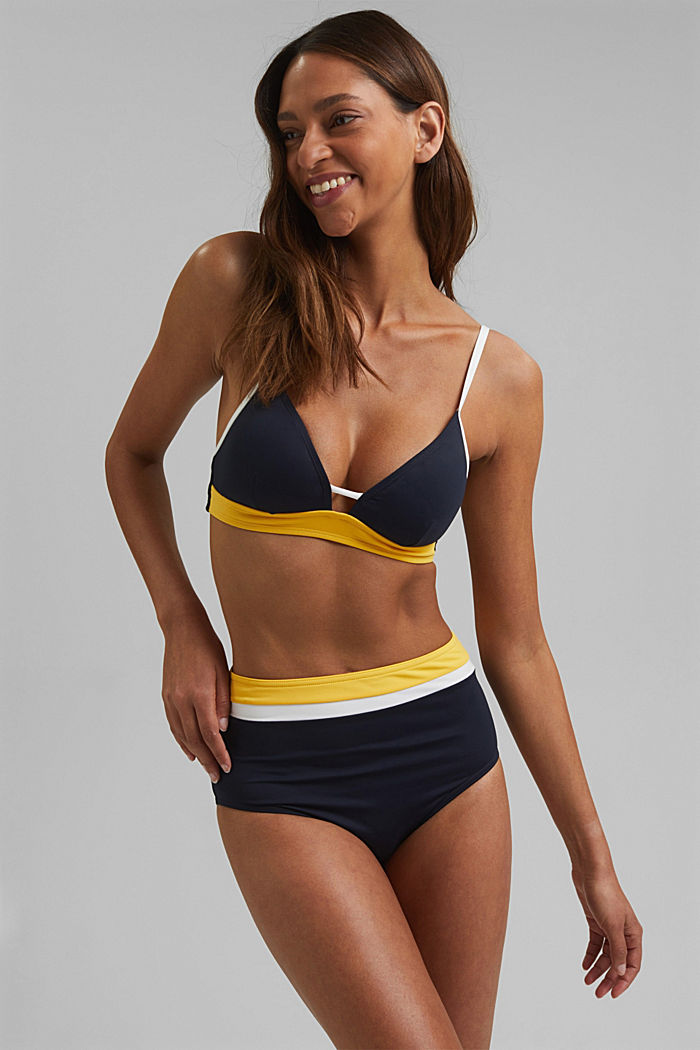 Recycled: high-waisted briefs with colour blocking, NAVY, detail image number 0