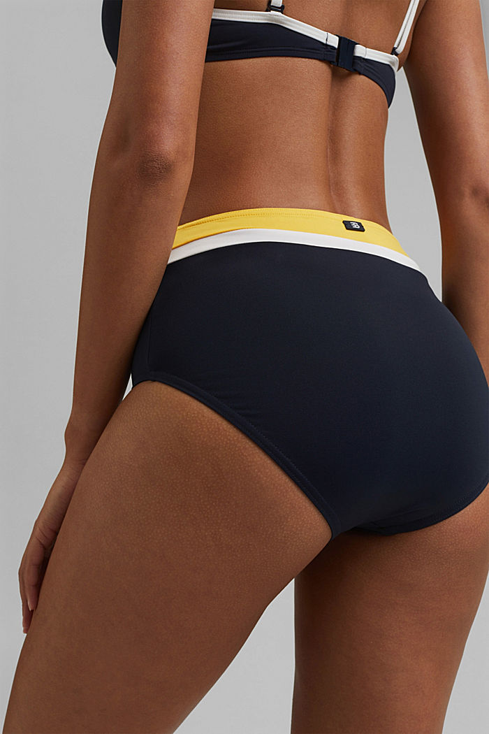 Recycled: high-waisted briefs with colour blocking, NAVY, detail image number 3