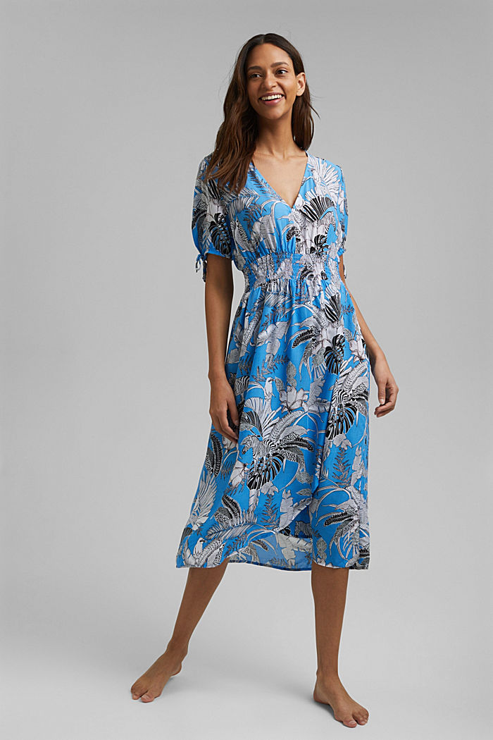 Midi-Strandkleid aus LENZING™ ECOVERO™, BLUE, detail image number 2
