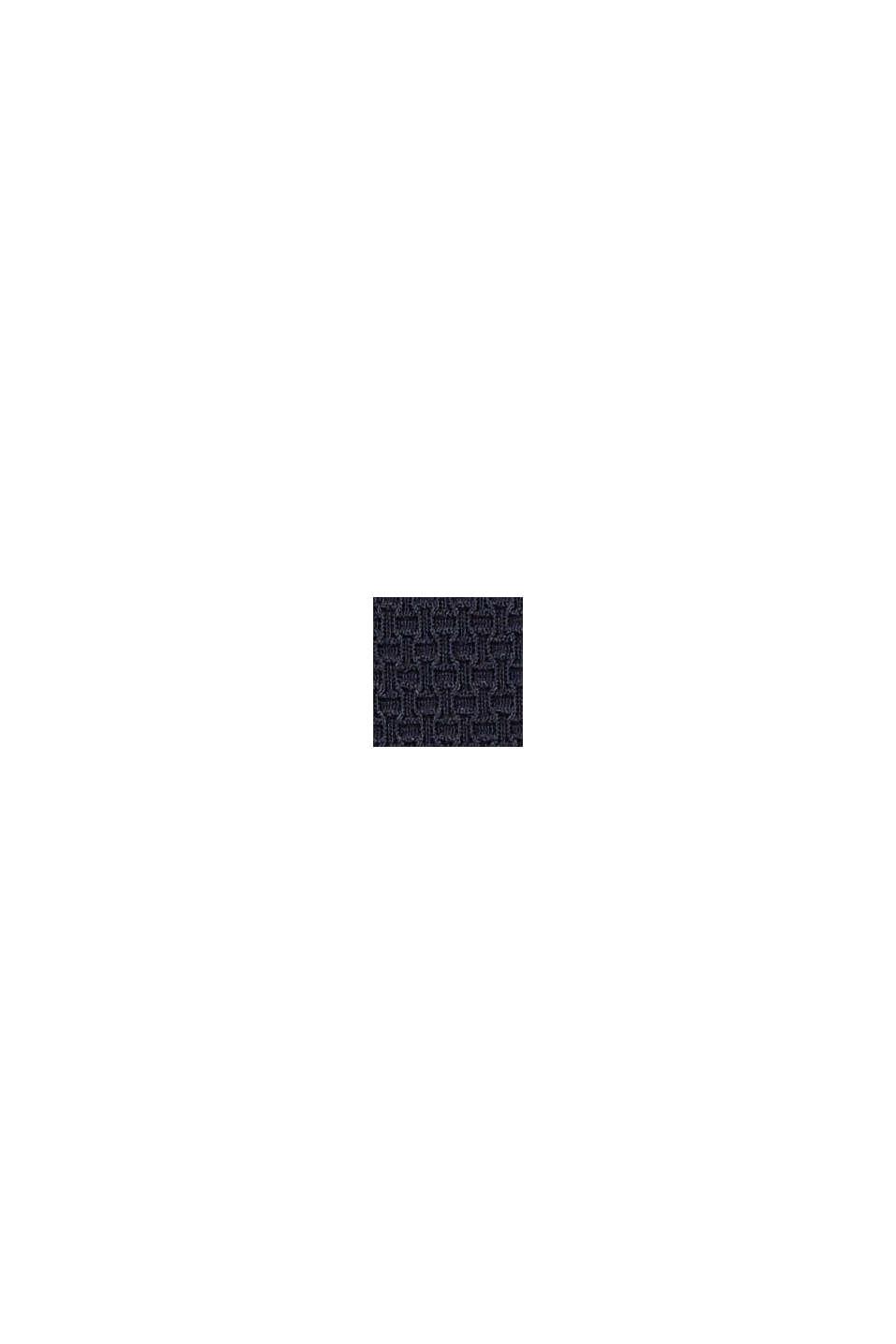 Highwaist-trusse med struktur og bølgekant, NAVY, swatch