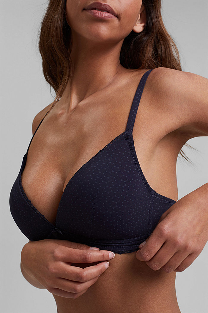 Recycled: padded printed bra