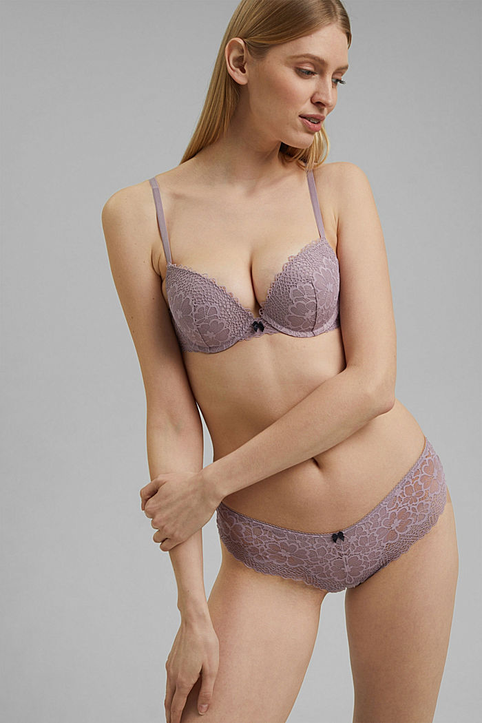 Recycled: push-up bra with lace, LAVENDER, detail image number 0