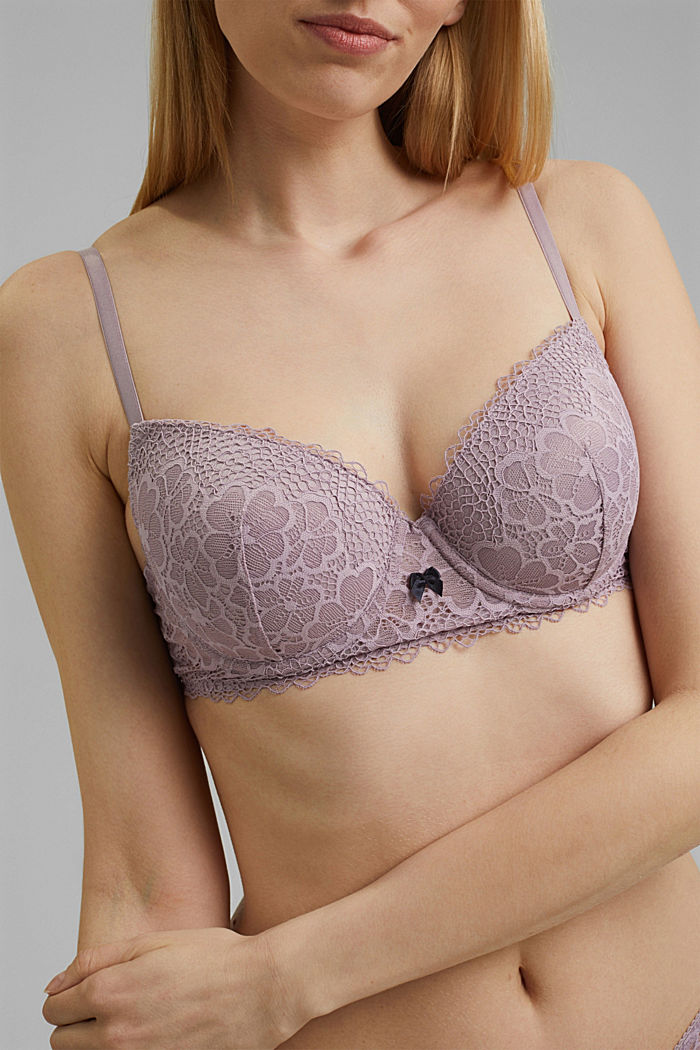 Recycled: padded underwire bra with lace, LAVENDER, detail image number 2