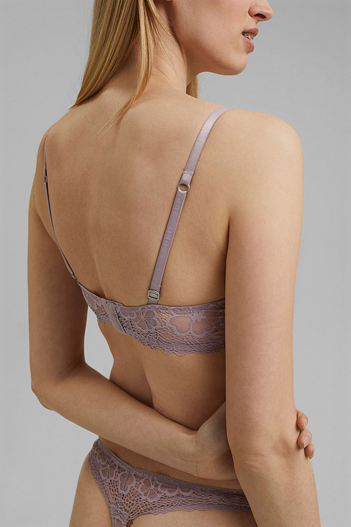 Recycled: padded underwire bra with lace, LAVENDER, detail image number 3