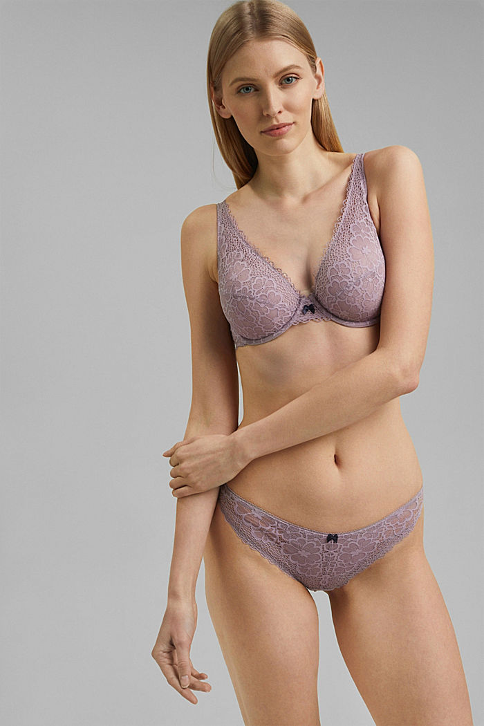Recycled: Unpadded underwire bra with lace, LAVENDER, detail image number 0