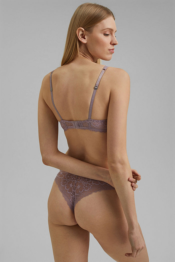 Recycled: unpadded underwire bra with lace, LAVENDER, detail image number 1
