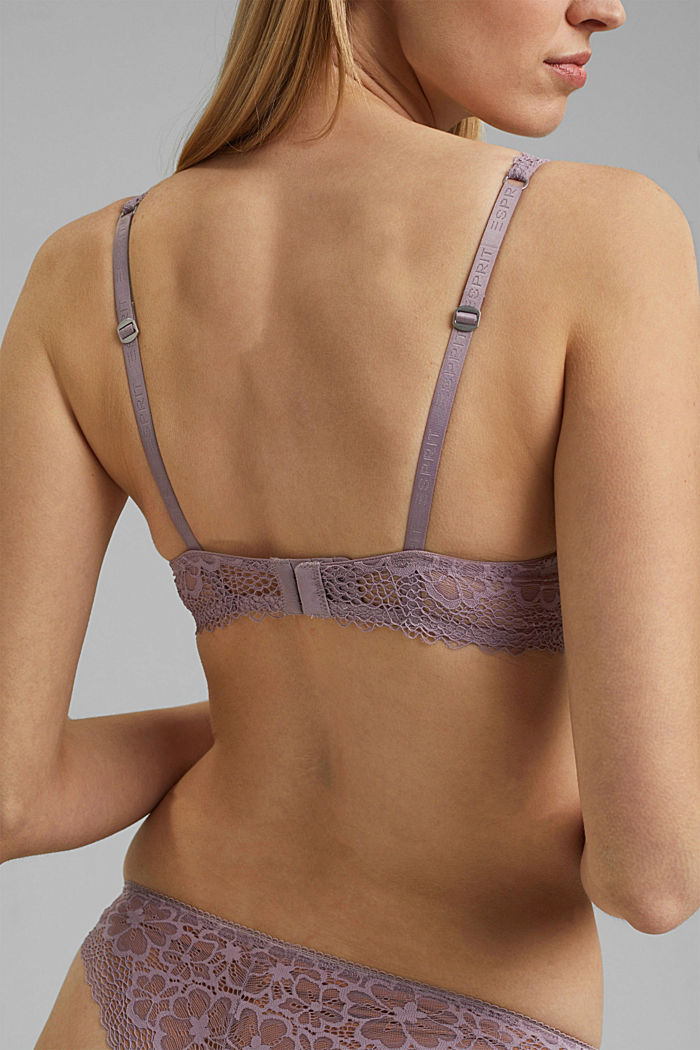 Recycled: Unpadded underwire bra with lace, LAVENDER, detail image number 3