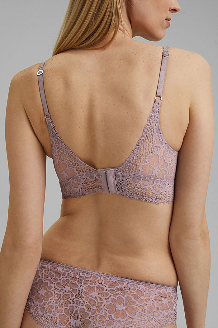 Recycled: Padded bra with lace, LAVENDER, detail image number 3