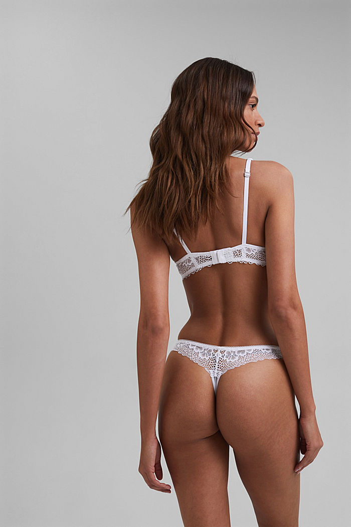 Recycled: Lace hipster thong, WHITE, detail image number 2