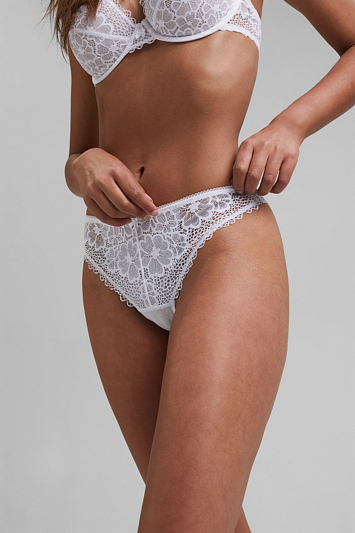 Recycled: Lace hipster thong, WHITE, detail image number 1