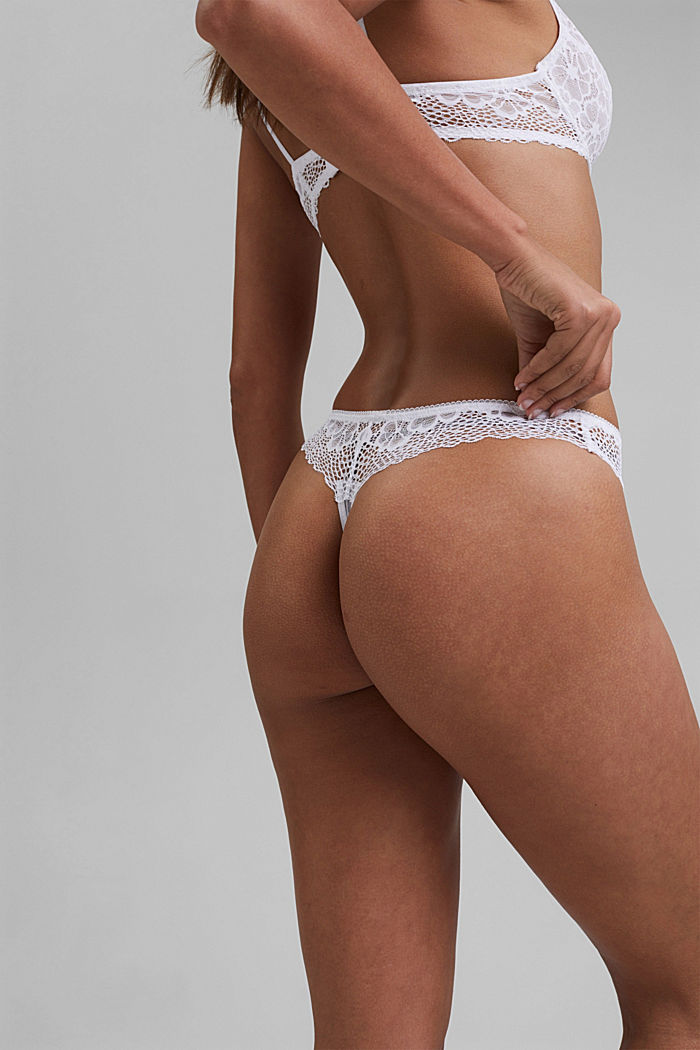 Recycled: Lace hipster thong, WHITE, detail image number 3