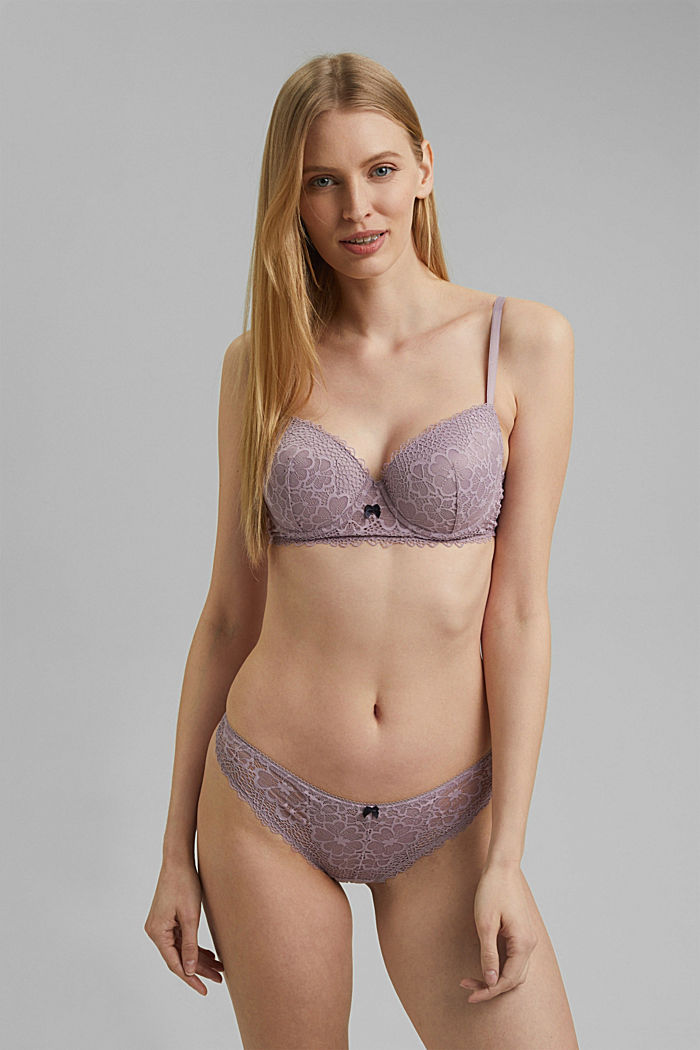 Recycled: Lace hipster thong, LAVENDER, detail image number 0
