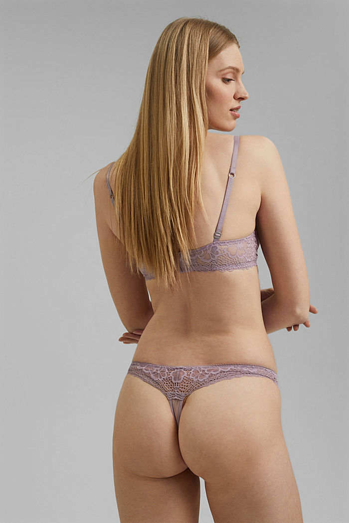 Recycled: Lace hipster thong, LAVENDER, detail image number 2