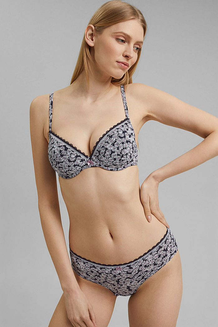 Recycled: padded underwire bra with a print, NAVY, detail image number 0