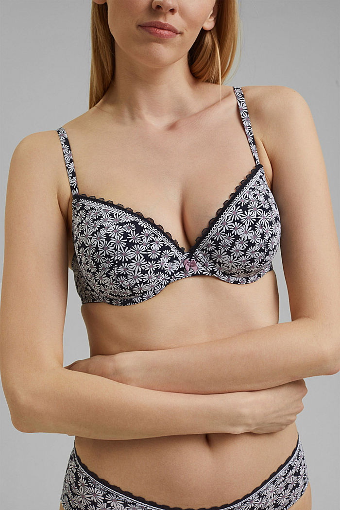Recycled: padded underwire bra with a print, NAVY, detail image number 2