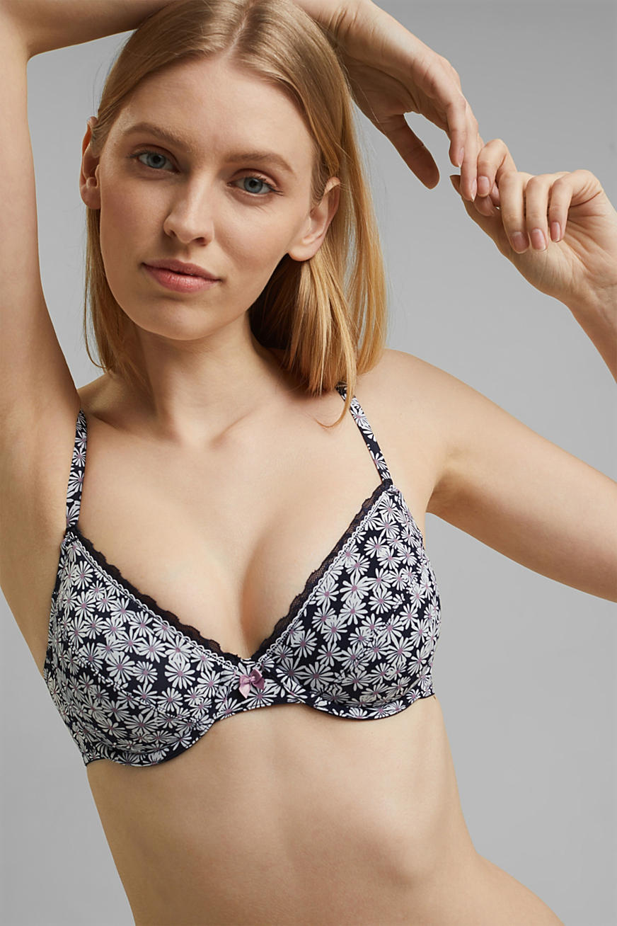 Recycled: Unpadded, printed underwire bra