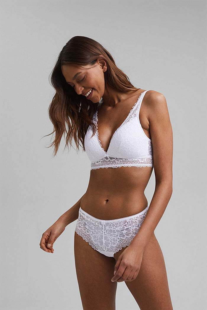 Recycled: padded bra with lace