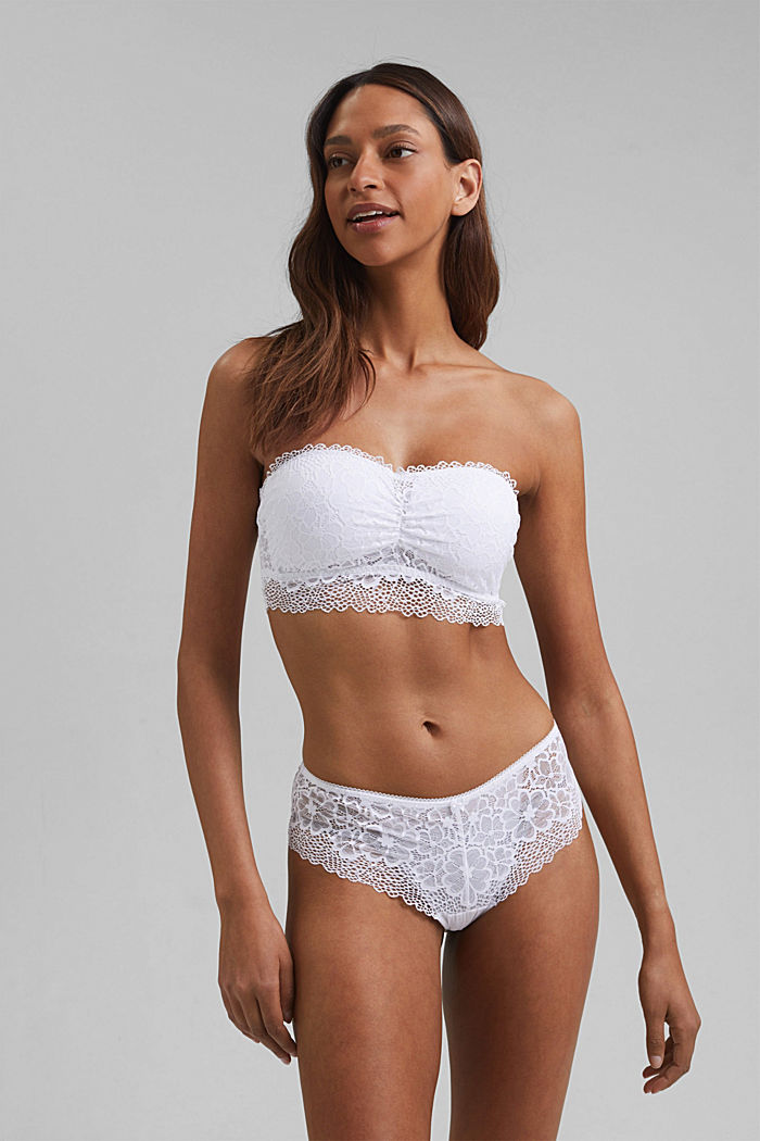 Recycled: padded bandeau top with lace, WHITE, detail image number 0