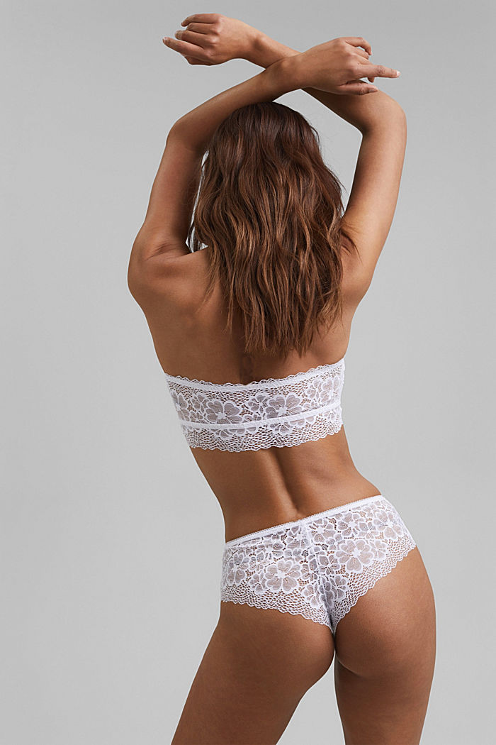 Recycled: padded bandeau top with lace, WHITE, detail image number 1