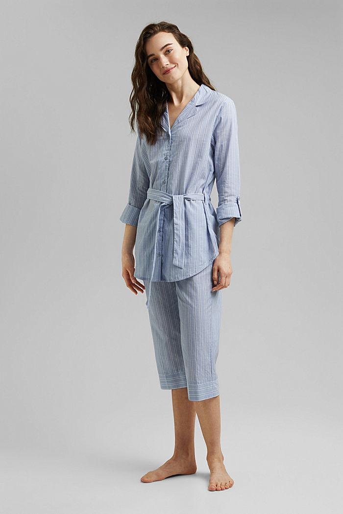 Raidallinen pyjama, 100 % luomupuuvillaa, PASTEL BLUE, detail image number 0