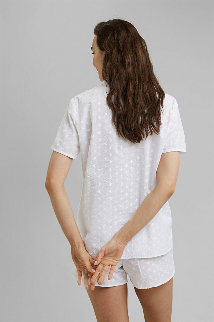 Pyjama à broderie, 100% coton biologique, WHITE, detail image number 2