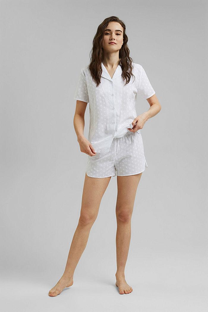 Pyjama à broderie, 100% coton biologique, WHITE, detail image number 0