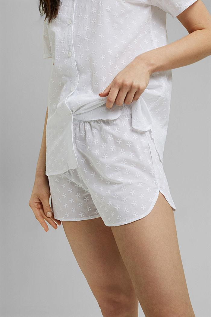 Pyjama à broderie, 100% coton biologique, WHITE, detail image number 5