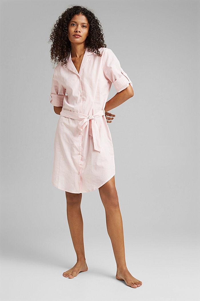 Nachthemd mit Streifen, 100% Organic Cotton, LIGHT PINK, detail image number 0
