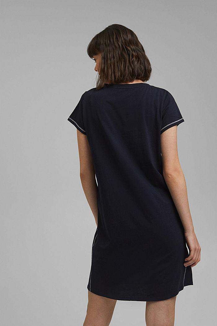 Jersey-Nachthemd aus 100% Bio-Baumwolle, NAVY, detail image number 2