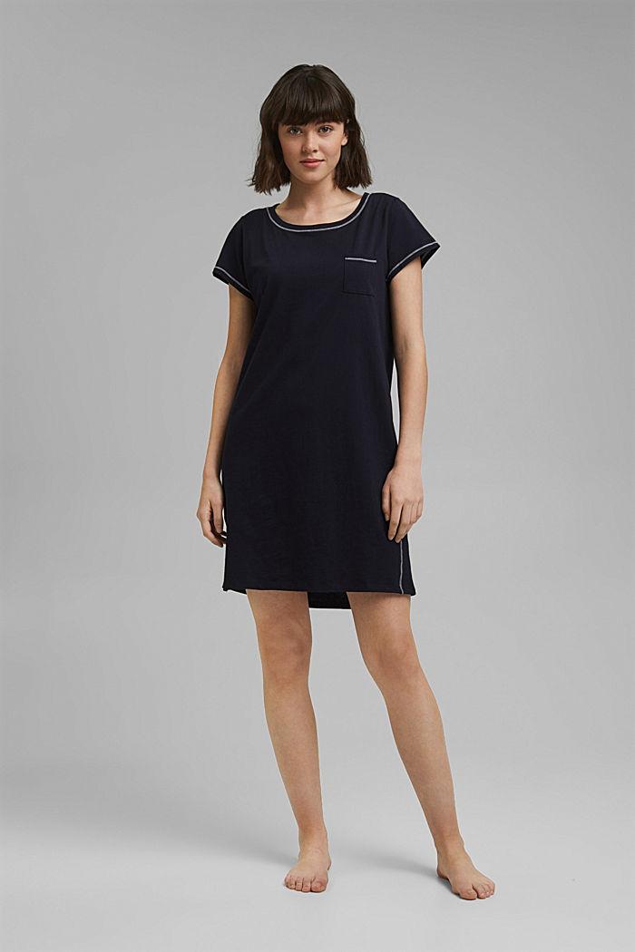 Jersey-Nachthemd aus 100% Bio-Baumwolle, NAVY, detail image number 0