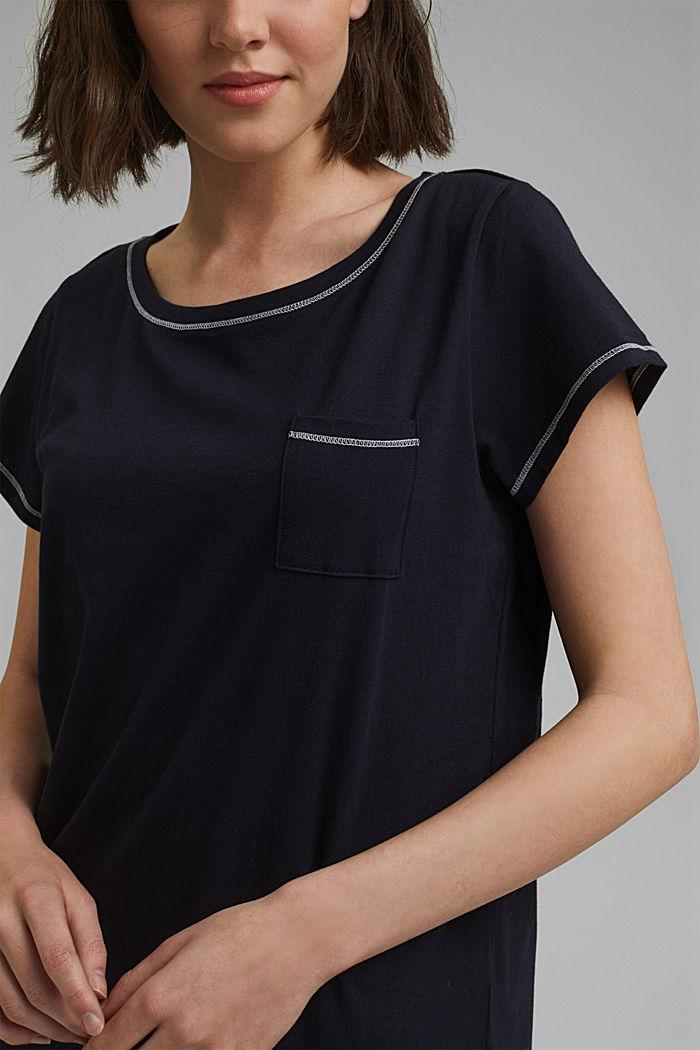 Jersey-Nachthemd aus 100% Bio-Baumwolle, NAVY, detail image number 3