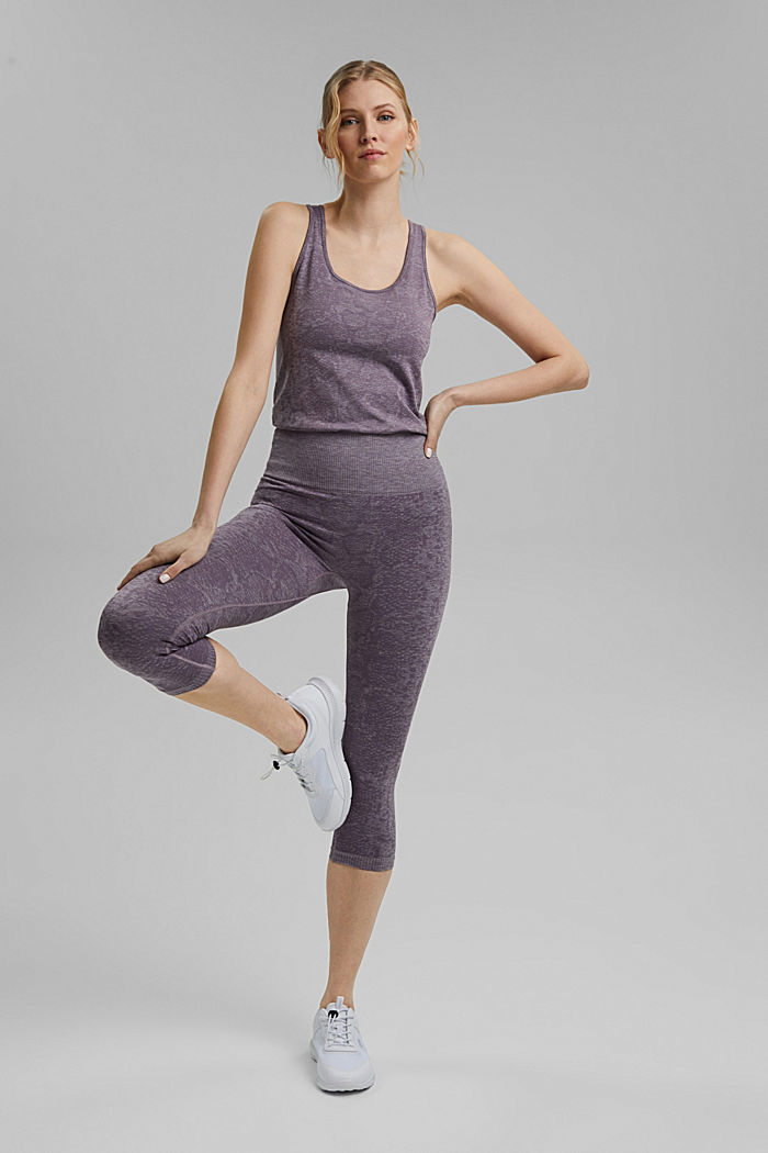 YOGA: seamless, high-performance leggings with an E-Dry finish, MAUVE, detail image number 1